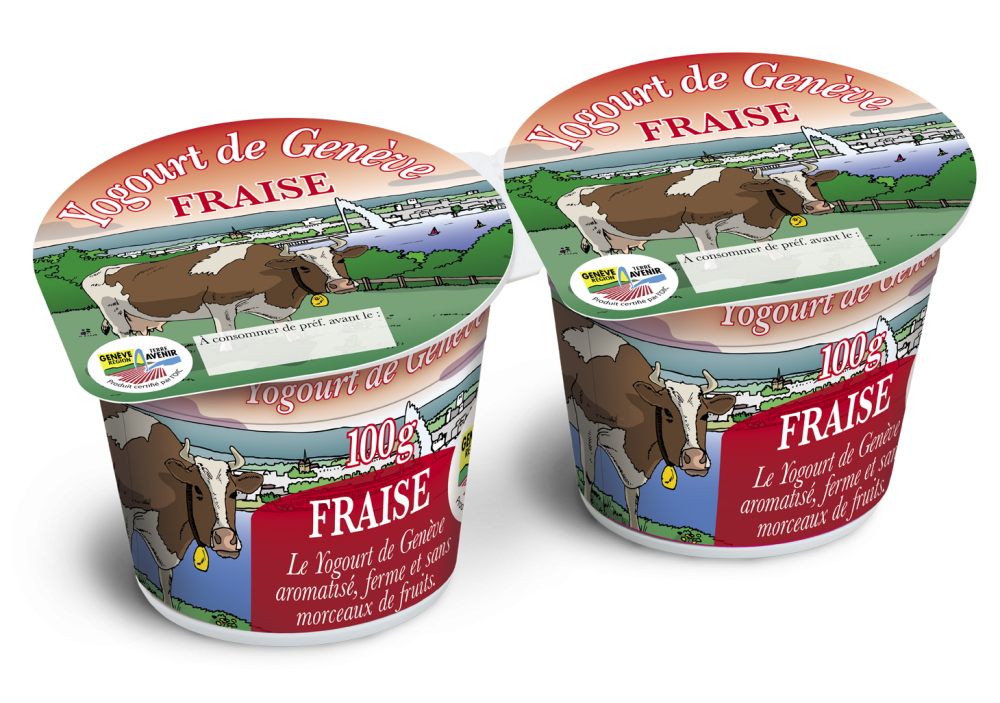 Packshot Yogourt au fraise GRTA en format 2x100g